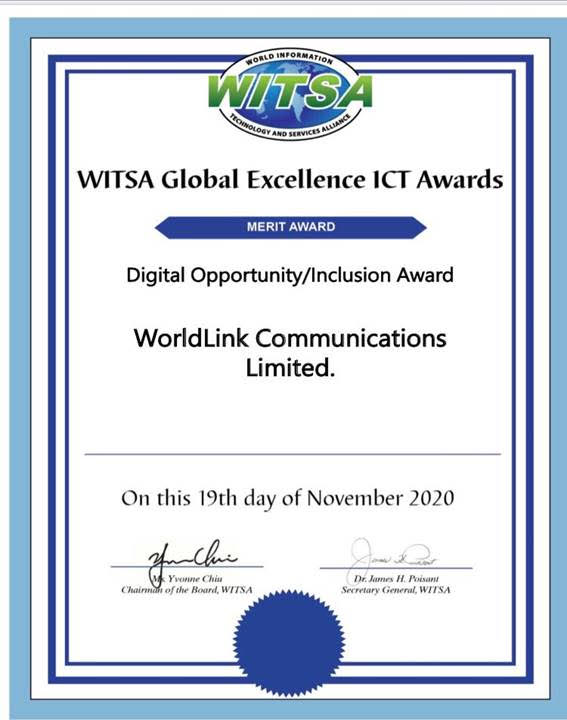 Worldlink WITSA Global Excellence ICT award