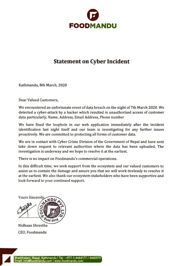 Foodmandu hack statement