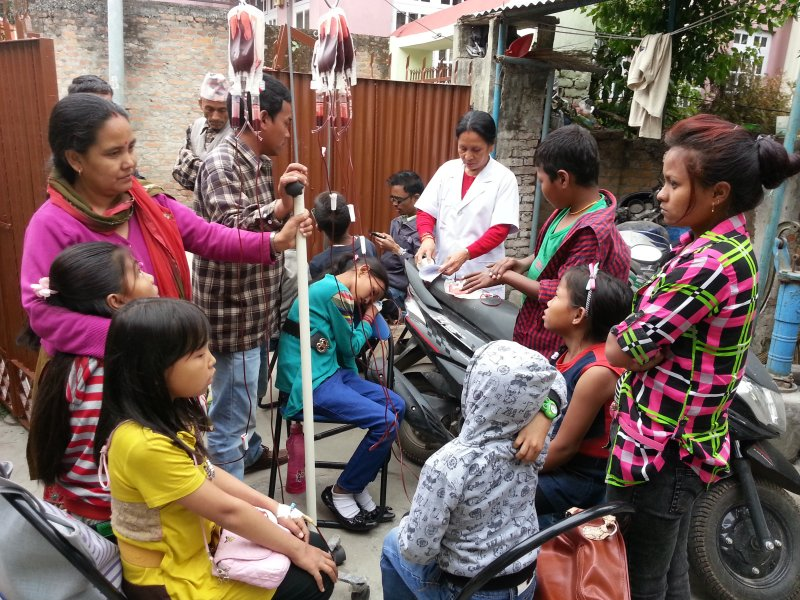Transfusing during the earthquake