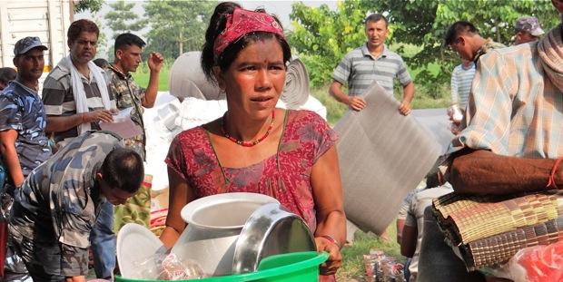 NYF flood relief distribution in Bardiya on August 24-25.