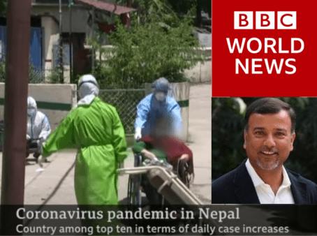 BBC World News interviews NYF President Som Paneru. Nepal's COVID Humanitarian Crisis is Rising Very Fast.