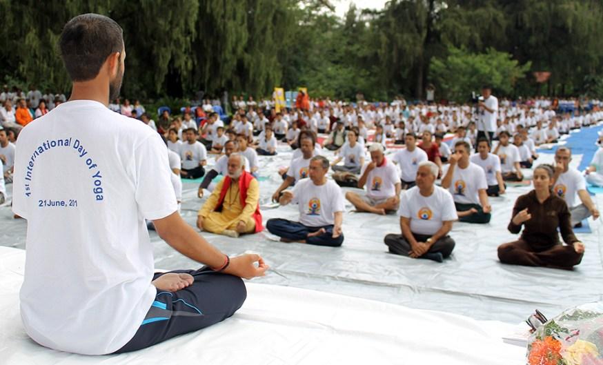 People from various walk of life joins the International Day of Yoga 2015 on Sunday at the premises of India Embassy, Lainchaur, Kathmandu. Photo: Kumar Shrestha/RSS