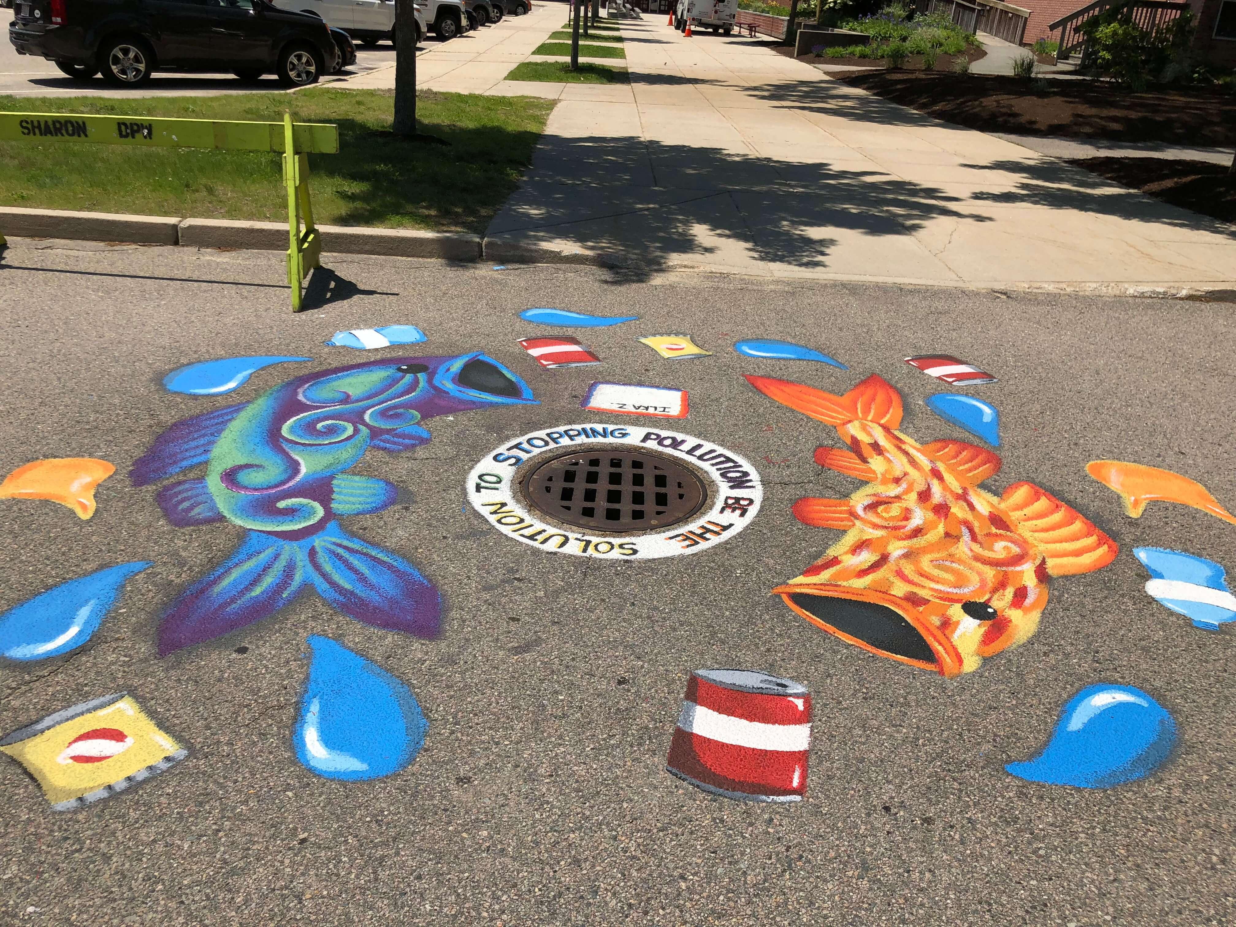 Sharon High School Storm Drain Murals