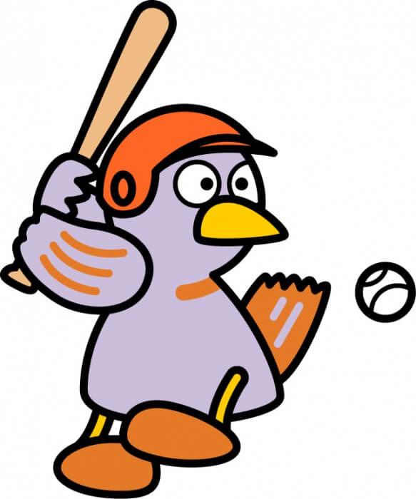 野球をするコバトン