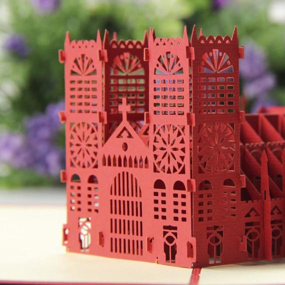 London Westminister Abbey 3D Pop Up Card Handmade Nepsource