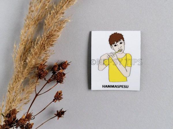 Nepsy Tips lapsen toiminnanohjauksen tukemiseen suunniteltu magneettinen kuvatukikortti Hammaspesu.