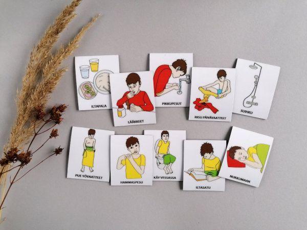 Nepsy Tips lapsen toiminnanohjauksen tukemiseen suunnitellut magneettiset kuvatukikortit Iltatoimet kuvasarja.