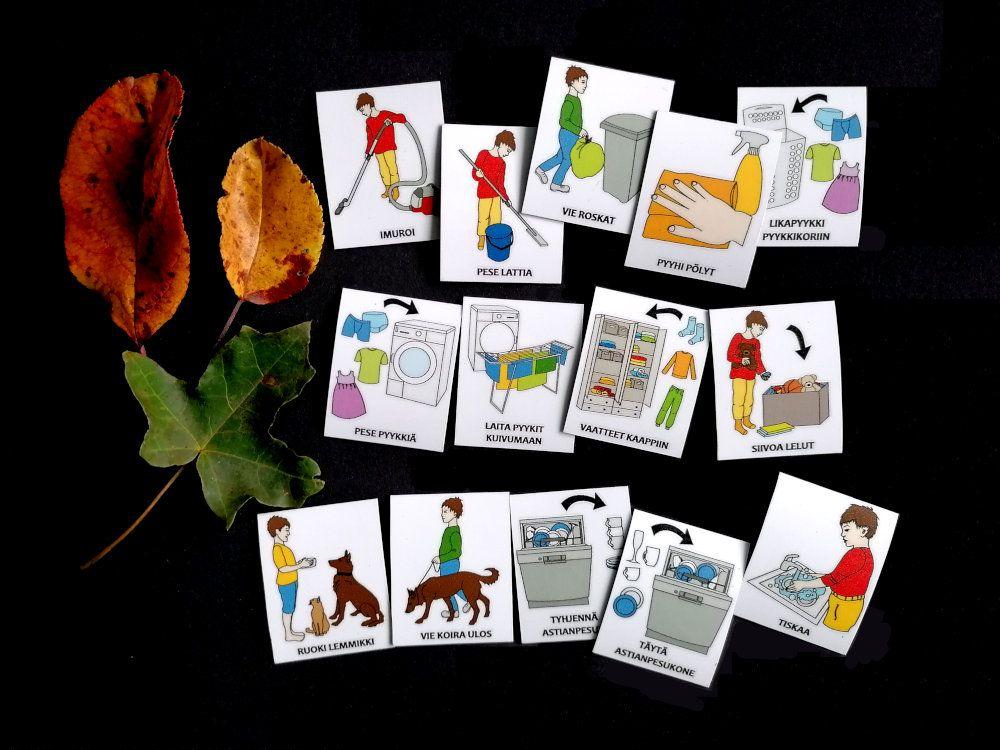 Nepsy Tips lapsen toiminnanohjauksen tukemiseen suunnitellut magneettiset kuvatukikortit Kotityöt kuvasarja.