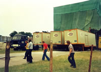 Three powerful generators backstage at Knebworth 1975 used to power the site
