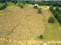 An aerial view of Knebworth 1975