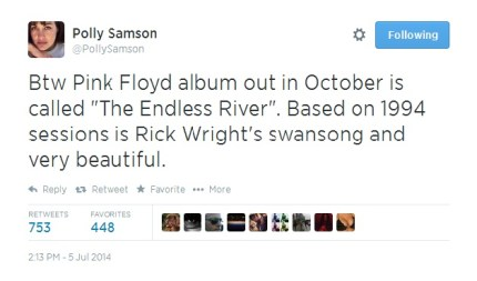 Polly Samson Tweet about New Pink Floyd Album out in October