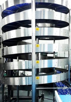 Stainless Steel Spiral Elevator with Food Grade Belts conveying Frozen Food Products