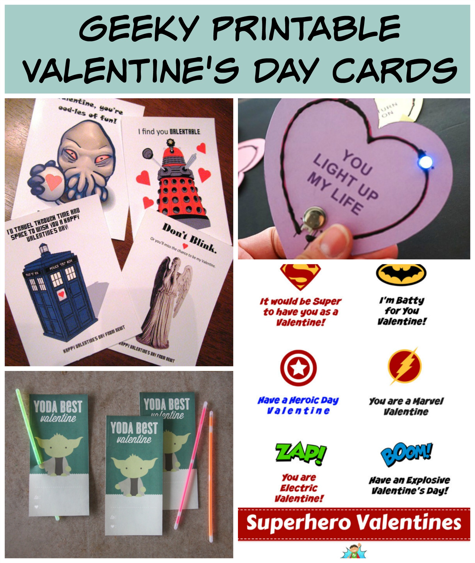 Free Printables For Geeky Valentine S Day Cards