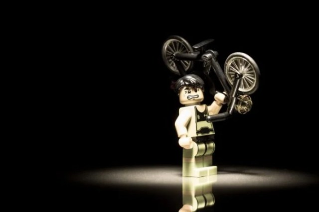 How much protein does it take to help this LEGO lift a bike?
