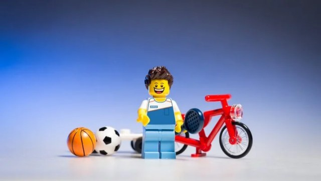 This Lego athlete is ready for his personal training.