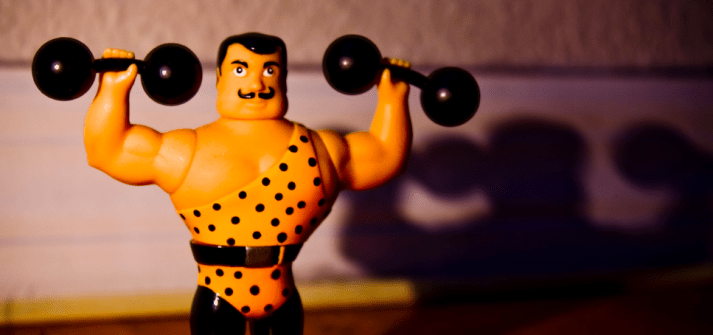 This strongman in leotard knows how to build muscle and strength.