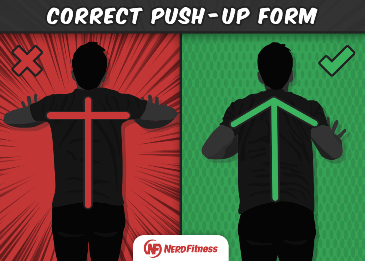 As you can see, you want your arms to be like an arrow, not a T when doing push-ups.