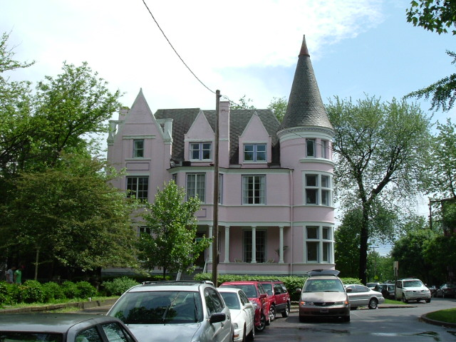 Exterior of St. James Court's famous Pink Palace in Louisville, Ky.