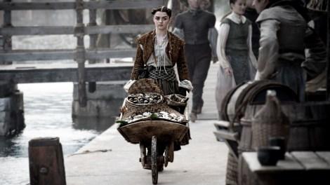 Arya's rocking the Miley Cyrus VMA performance buns. [HBO]