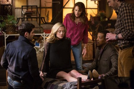 """GRIMM -- """"You Don't Know Jack"""" Episode 420 -- Pictured: (l-r) David Giuntoli as Nick Burkhardt, Claire Coffee as Adalind Schade, Bree Turner as Rosalee Calvert, Russell Hornsby as Hank Griffin, Silas Weir Mitchell as Monroe -- (Photo by: Scott Green/NBC)"""