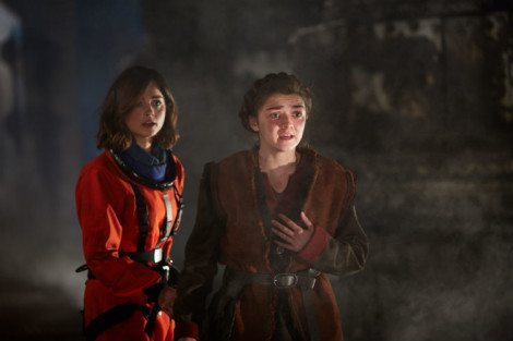 Ashildr lets the Mire have a piece of her mind, much to Clara's dismay [Source: BBC WORLDWIDE LIMITED]