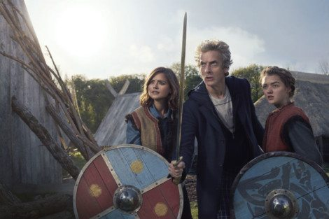 The Doctor, Clara, and Ashildr are ready to fight, but the rest of the Vikings need a little work [Source: BBC WORLDWIDE LIMITED]