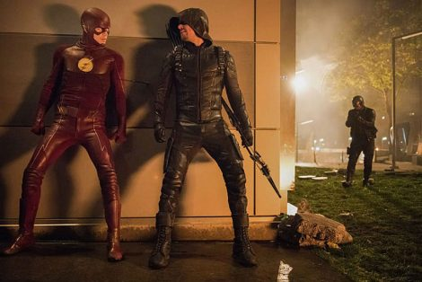 It's Barry and Oliver vs. every hero they know (Source: Dean Buscher/The CW)