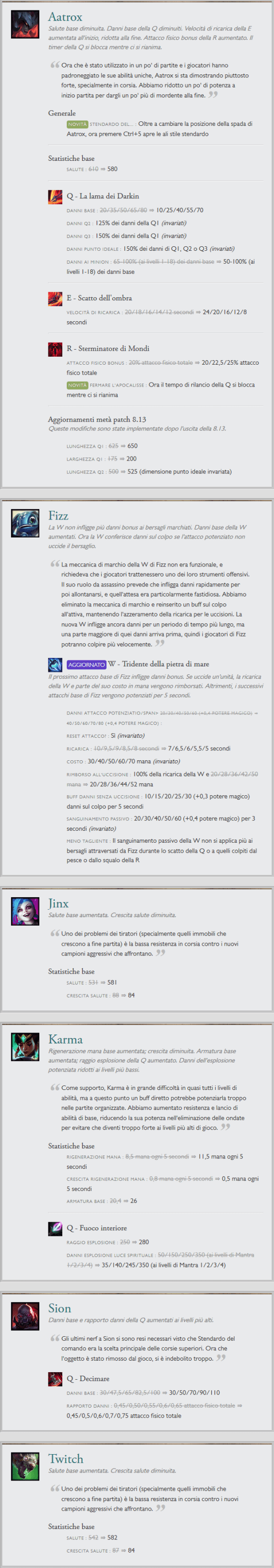 League of Legends Patch Notes 8.14 Aatrox Fizz Jinx Karma Sion Twitch