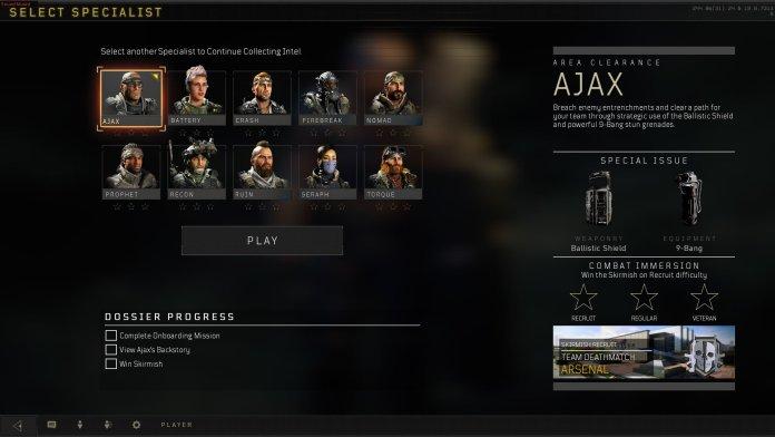 Loadout di Black Ops 4, con gli specialisti. Meccanica che non ritroveremo su Call of Duty: MW4