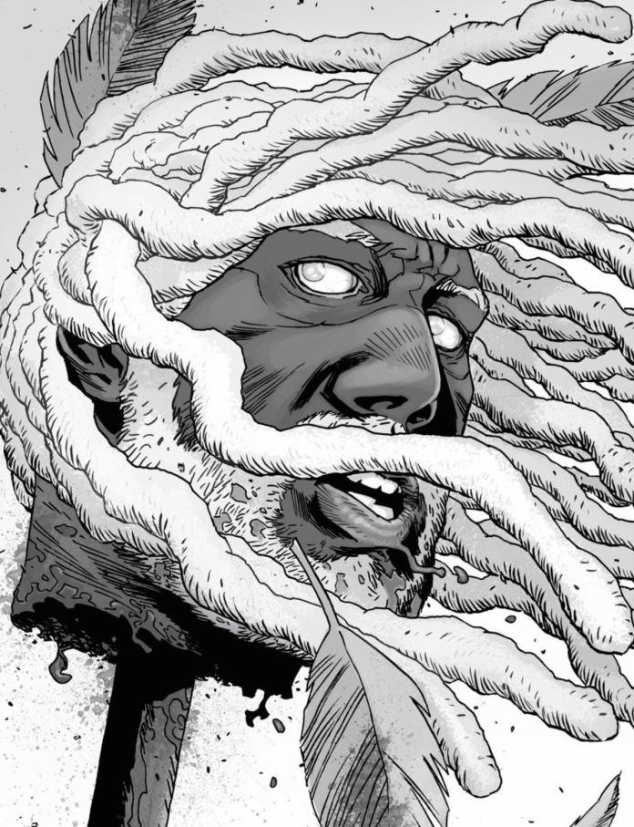 The Walking Dead, la testa di Re Ezekiel (al centro) impilata sulla picca