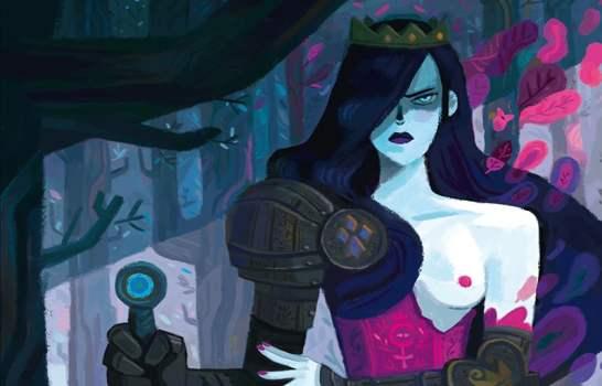 Morgana con armatura che impugna la sua spada