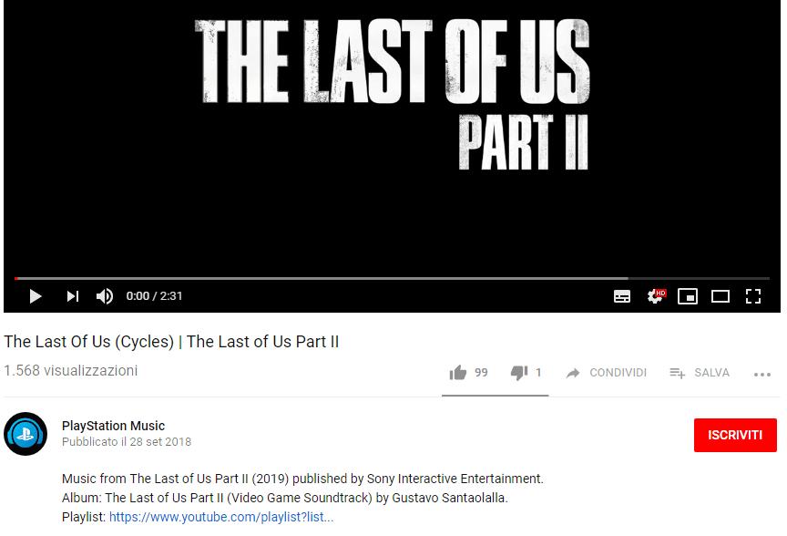 The Last Of Us 2 - Il 2019 presente in descrizione sotto i brani di PlayStation Music News Videogames