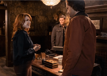 Lynda Boyd as Fortunia/Moira, Jensen Ackles as Dean and Jared Padalecki as Sam. Image Courtesy The CW.