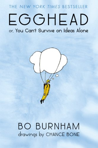 The cover of Egghead: Or, You Can't Survive on Ideas Alone by Bo Burnham with an illustration of a man in a yellow jumpsuit parachuting with a cloud by Chance Bone