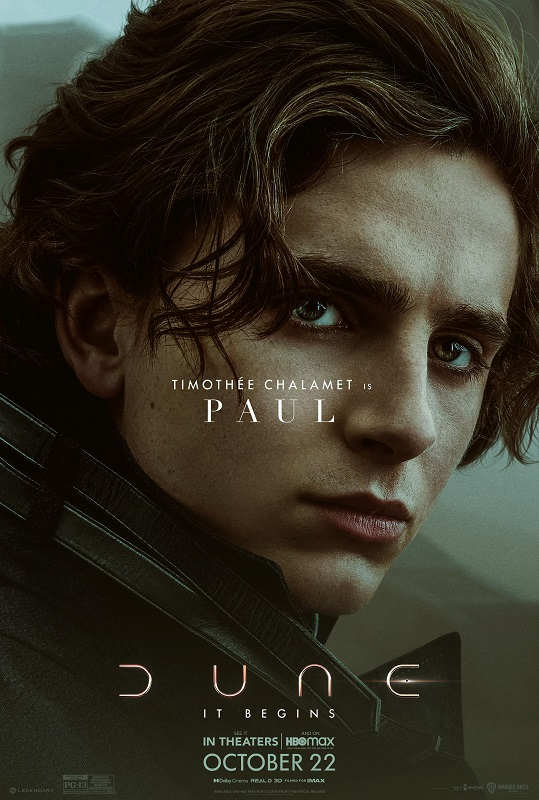 Dune character poster featuring Timothée Chalamet as Paul