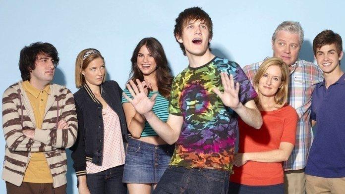 The cast of Zach Stone Is Gonna Be Famous; left to right: Armen Weitzman, Caitlin Gerard, Shelley Hennig, Bo Burnham, Kari Coleman, Thomas F. Wilson, Cameron Palatas
