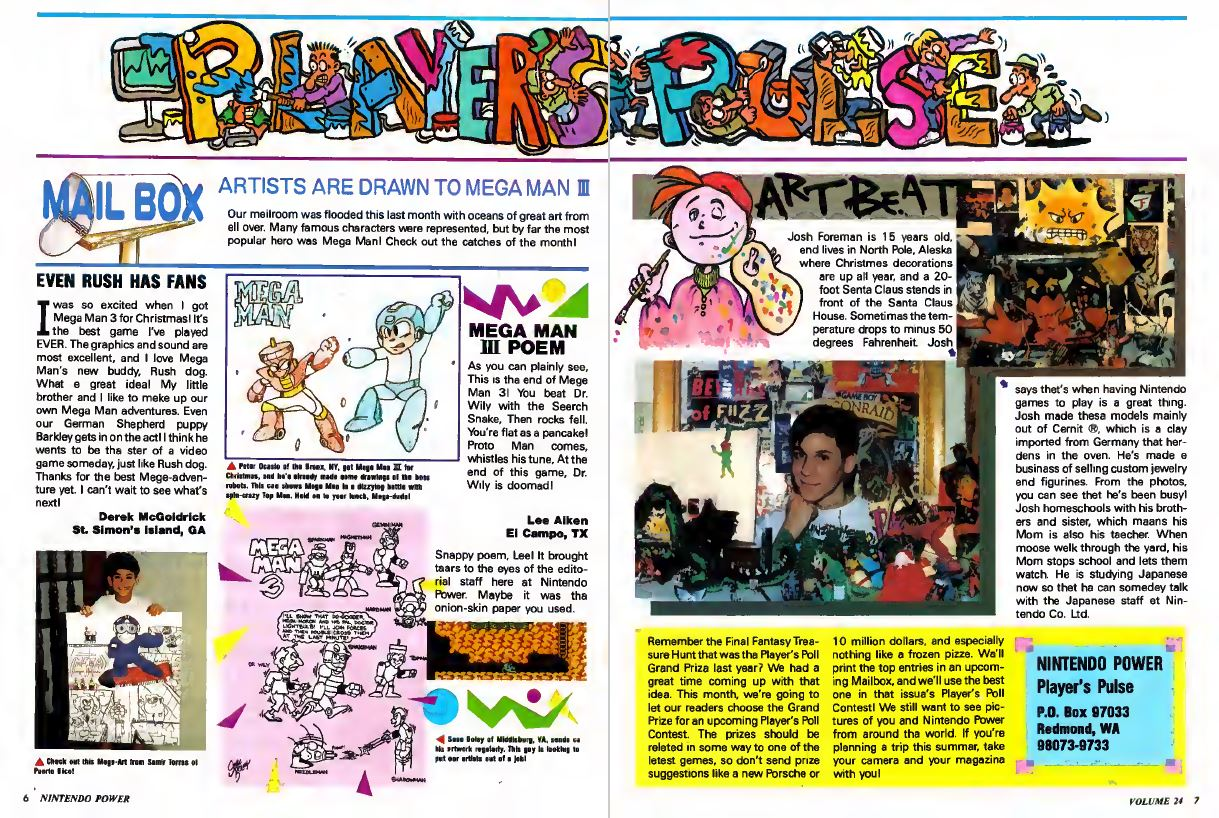 Player's Pulse Spread Reader Submission Nintendo Power Issue 24 May 1991