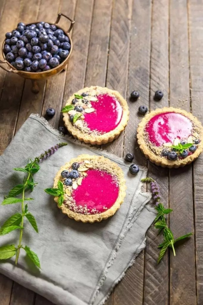 Blueberry-Lemon Curd Tartlets with Almond Crust
