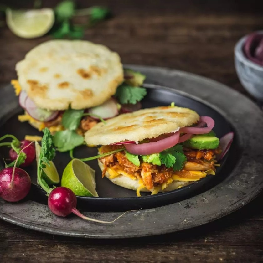 Arepas with Pulled BBQ Chicken, Cheddar, Pickled Onions and Avocado