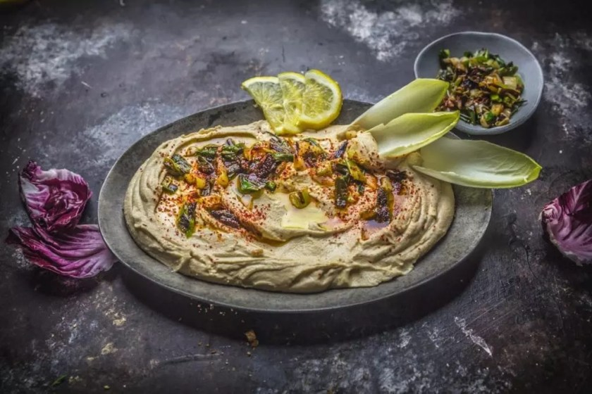 Miso Hummus with Charred Scallions