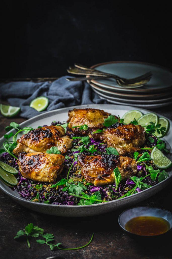 Sticky Lemongrass Chicken with Black Rice Salad