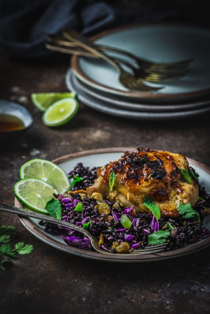 A plate of Lemongrass Chicken with Black Rice Salad