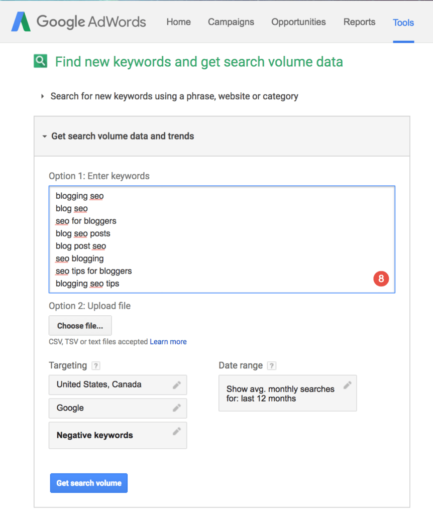 Blog SEO Keyword Planner