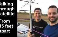 Talking through a satellite from 15 feet apart
