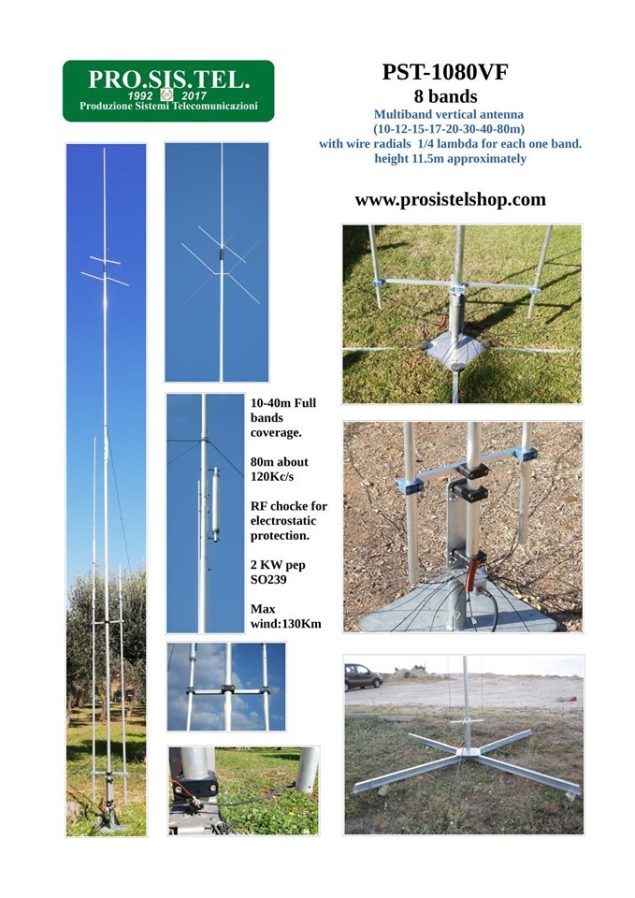 Vertical Antenna 8 bands trapped (10-12-15-17-20-30-40-80m