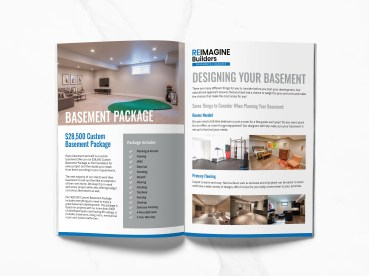 Handout design for reimagine builders in calgary