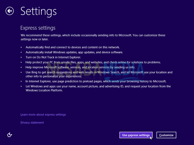 Pilih User Express Settings windows 8