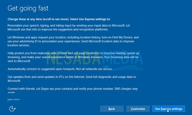 select express settings windows 10