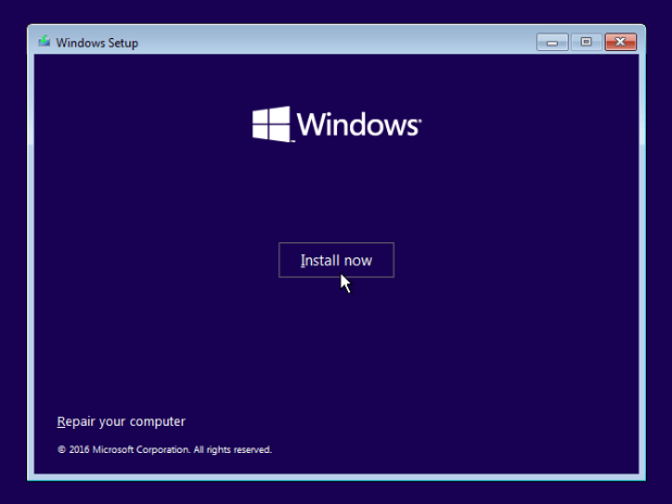 select Install now windows 10