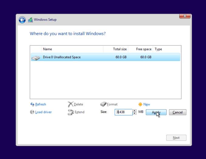 pilih new untuk membuat partisi windows 10
